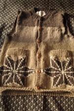 商品☆草木染め手編みニットメンズ麻柄ベスト☆Vegetable dyeing knit Holy hemp handle Men's Vest ∞Thank you Sold out☆