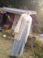 商品☆ガンディーコットン 手編みニットカーディガン(ショート)  Organic Gandhi cotton & Fine wool Knit Cardigan(short)