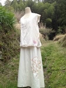 商品☆Organic Cotton フラワーオブライフ 2Way変形リボンスカート∞