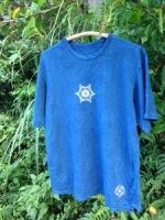 新商品☆ヘンプコットン∞Hemp cotton∞藍染めメンズ麻柄トリシューラTシャツ☆*・゜゚・*
