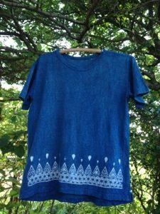 新商品☆ヘンプコットン∞Hemp cotton∞レディース光の雫藍染めTシャツ☆*・゜゚・*