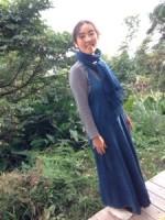2013年末の染め直し∞藍染め∞ヘンプコットンフラワーオブライフワンピース☆*・゜゚・*:.。