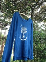 商品☆Organic cotton 藍染め 月と蓮☆長袖レディース ロング Tシャツ