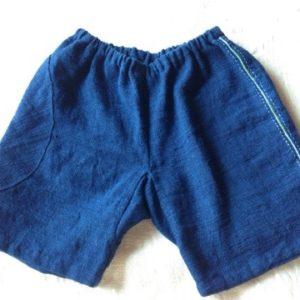 新商品☆OC 手紡ぎ∞手織り∞藍染め☆光の雫ポケットKid'sパンツ☆
