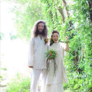 花婿さん∞麻100%作務衣☆花嫁さん∞Hemp&Organic Cottonジャガード織り巻きスカートを履いてくれました♡