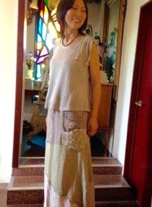 Hemp&Cotton 草木染め ハチドリスカート∞素敵に着てくれています☆*・゜゚・*