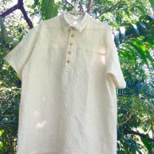 麻100%シャツの台襟付き半袖を半オーダーメイドで創らせていただきました☆^ ^*・゜